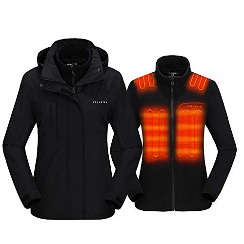 Venustas Women's 3-in-1 Heated Jacket with Battery Pack 7.4V, Ski Jacket Winter Jacket with Removable Hood Waterproof