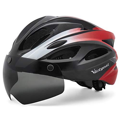 VICTGOAL Casco Bici con Luce di LED Occhiali Magnetici Rimovibili Leggero Casco Bici da Corsa per Uomo Donna 57-61 CM (Nero Rosso)
