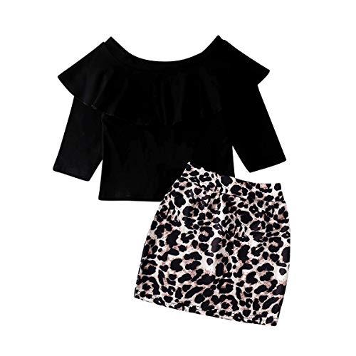 CIPOGL 2 Stücke Kleinkind Kinder Baby Mädchen Rüschen Schulterfrei Langarm Tops + Leopard Bleistiftrock Minikleid Outfits Set Kleidung (As Shown, 2-3T)