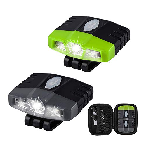 Ultra Bright Mini Hands Free Cree LED Clip on Cap Light - Rechargeable Waterproof Hat Light Flashlight Headlamp for Fishing Camping Hand Work Baseball Caps, 2 Pack -(Grey+Green)