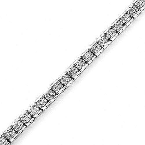 SLV Pulsera de tenis de corte redondo transparente de 2 quilates de plata de ley 925 con diamantes de imitación