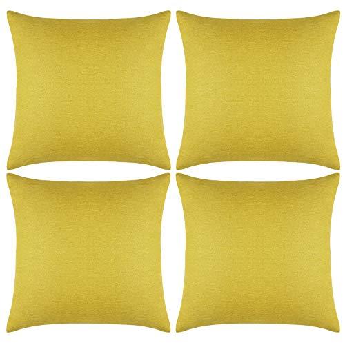 Aneco - Juego de 4 fundas de almohada para exteriores, impermeables, decorativas, de jardín, cuadradas, para patio, sofá, tienda, balcón y sofá, 45 x 45 cm, color amarillo