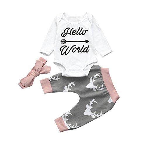 Internet Bébé Filles Enfants Cerf Impression Barboteuse Body + Pantalon + Bandeau vêtements Tenues Ensemble (70(6 Mois), Blanc + Gris)