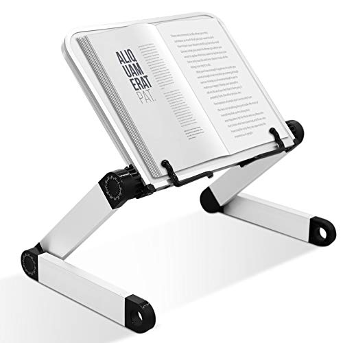 Book Stand Multifunctional Adjustable Laptop Stand Book Holder Tray with Clips Ergonomic Multi Heights Angles Adjustable Cooking Bookstand for Textbook Recipe Magazine Laptop Tablet Portable