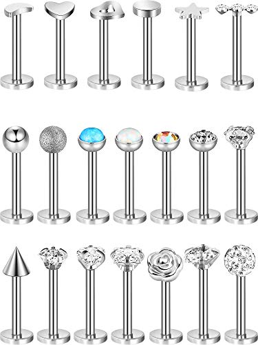20 Pieces Nose Studs Tragus Bars Labret Bars Crystal Ball Body Piercing Jewelry, 20 Styles, 16 Gauge (Stainless Steel)