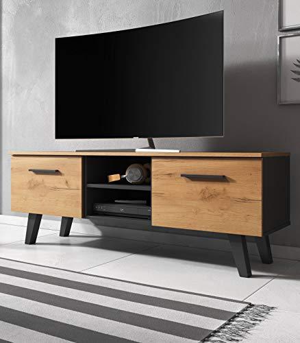 Jenrik TV Lowboard skandinavisch TV Unterteil 140 x 52 cm Fernsehtisch (Eiche Gold/schwarz)