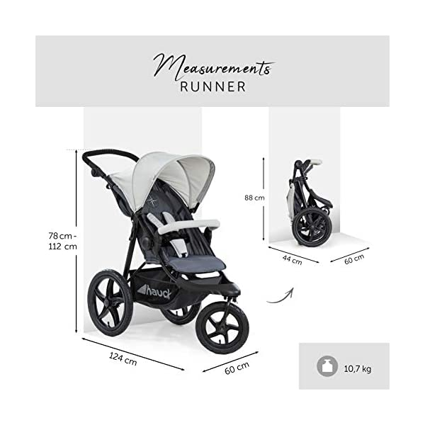 Hauck Runner, Jogger Style, 3-Wheeler, Pushchair with Extra Large Air Wheels, Foldable Buggy, For Children from Birth to 25kg, Lying Position - Silver Grey Hauck LONG USE - This 3-wheel pushchair is suitable from birth (in lying position or in combination with the 2in1 Carrycot) and can be loaded up to 25kg (seat unit 22 kg + basket 3 kg) ALL-TERRAIN - Thanks to the big air wheels - back 39cm diameter, front 30 diameter – as well to the swiveling and lockable front wheel, this jogger style pushchair can be used on almost any terrain COMFORTABLE - Thanks to adjustable backrest and footrest, sun canopy, large shopping basket, and height-adjustable push handle 3