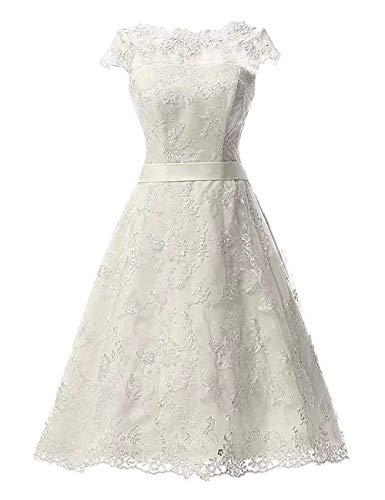Damen Brautkleider Hochzeitskleider A-Linie Spitze Vintage Brautmode Festkleider Wadenlang Weiß 52