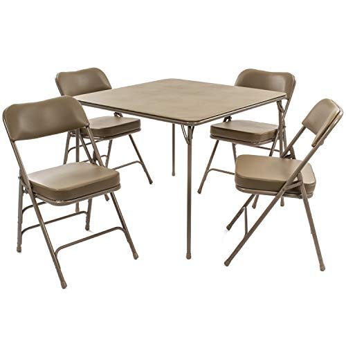 XL Series Folding Card Table and Chair Set (5pc) - Ultra-Padded Chairs for All-Day Comfort - Fold Away Design, Quick Storage and Portability - Vinyl Upholstery - Premium Quality (Beige)
