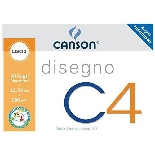 Canson 100500451 Album da Disegno C4, Liscio Riquadrato, 24 x 33 cm, 200 G/Mq, 20 [Italia]