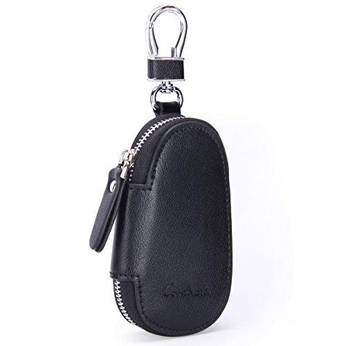 Funda de piel auténtica para llavero de coche, para hombre y mujer, Negro  (Negro) - 10440743
