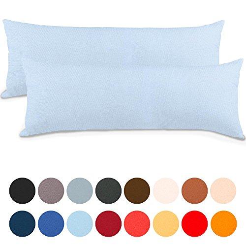aqua-textil Classic Line Kissenbezug 2er-Set 40 x 200 cm Aqua blau Baumwolle Seitenschläferkissen Bezug Reißverschluss