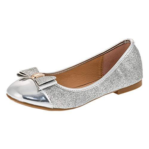 Festliche Mädchen Ballerina Schuhe in vielen Farben für Party und Freizeit M283si Silber Gr.35