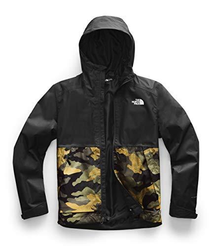 The North Face Men's Millerton Waterproof Rain Jacket, Burnt Olive Green Waxed Camo Print/TNF Black, Small