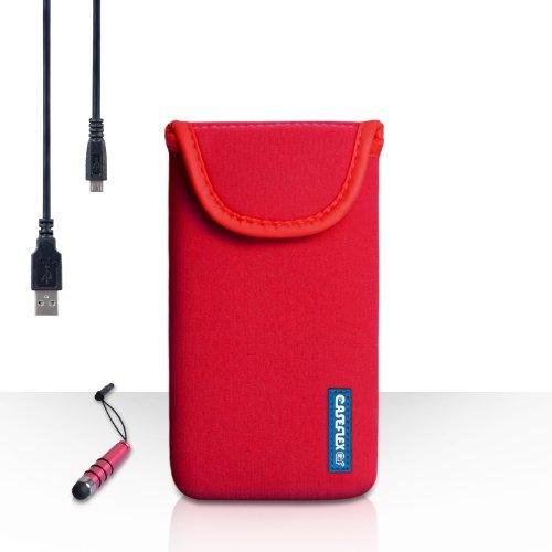 Caseflex Kompatibel FürSamsung Galaxy K Zoom Tasche Rot Neoprene Beutel Hülle Mit Mini Griffel Stift Und USB-Kabel