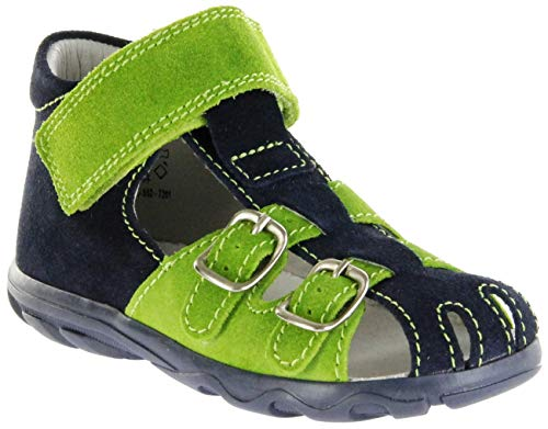 Jela Kinder Lauflerner-Sandalen blau Velourleder Jungen Schuhe 2111Z-552-7201 Atlantic Terrino, Farbe:blau, Größe:27 EU
