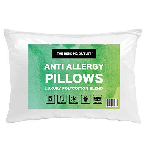 The Bedding Outlet  Juego de 2 almohadas de cama de tamaño mediano, hipoalergénicas, color blanco