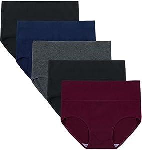 INNERSY Bragas Mujer de Algodón Ropa Interior de Cintura Alta Cómoda y Sexy Braguitas Pack de 5 (L-EU 42, Oscuro)