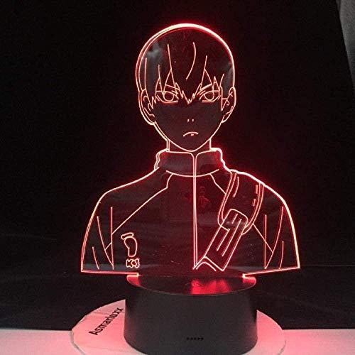 Lámpara de ilusión 3D para niños Luz de noche LED acrílica Anime Haikyuu Shoyo Hinata Figura para decoración de dormitorio de niños Luz de noche Manga fresca 16 Cambio de color con control remoto