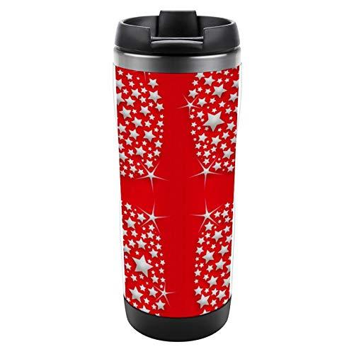 Taza de viaje de acero inoxidable de 355 ml con tapa, diseño de estrellas plateadas sobre fondo rojo, para el hogar, la oficina, el trabajo al aire libre, taza de café helado de viaje