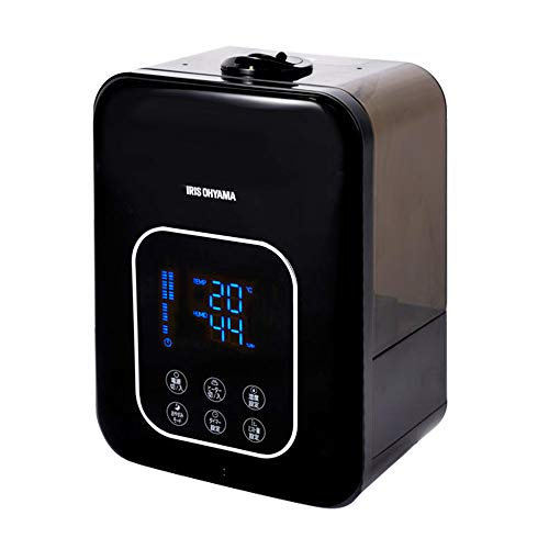 アイリスオーヤマ ハイブリッド式 加湿器 超音波式 + 加熱式 リモコン付 アロマオイル対応 デジタル表示 ミスト3段階 湿度設定可 切タイマー付 大容量 卓上 ブラック PH-UH35-B