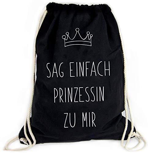 Sophies Kartenwelt Turnbeutel mit Spruch Prinzessin - 100% Baumwolle/Beutel Rucksack in schwarz/Jutebeutel/Sportbeutel/Hipster/Damen