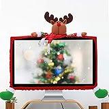 ASHATA Computer Monitor Cover, 3D Christmas Cartoon 19-27inch Computer PC Monitor Display Frame Protective Case Cover, Christmas Three-Dimensional Cartoon Decorations para el hogar(Alce)