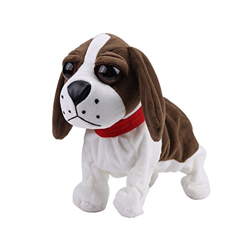 Fdit Perro de Peluche Mascotas Electrónicas Peluche Mascotas Perrito de Juguete Perros Electrónicas de Control de Sonido(Marrón)