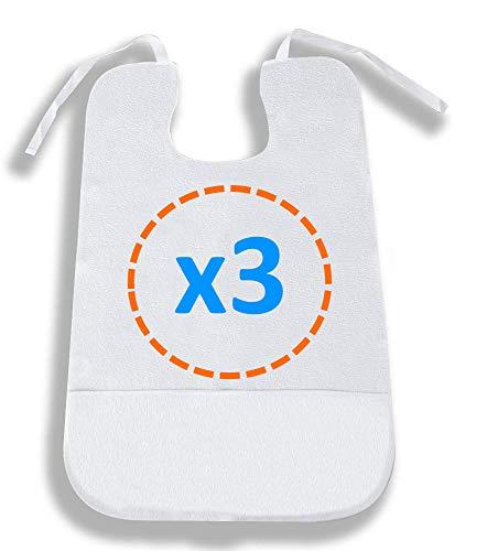 OrtoPrime Pack 3 Babero para Adulto Impermeable - Delantal Ortopédico con Recoge Migas - Rizo de Algodón suave 100% Lavable y Reutilizable - 3 Unidades