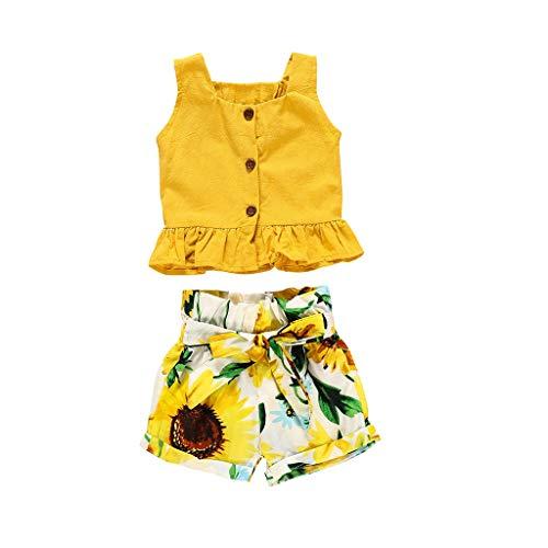 Ensembles pour Les fêtes d'été pour Filles PAOLIAN Girls T-Shirts Bretelles et Shorts pour bébé Vêtements pour bébés Nouveau-né Filles Baptême Robe imprimée Tournesol 0 Mois-5 Ans