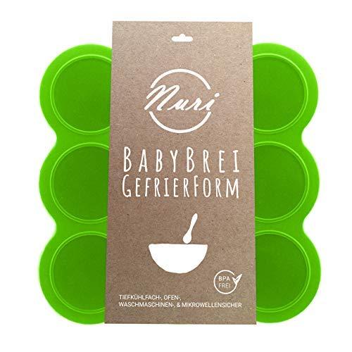 Nuri BPA-freie Gefrierform zum Einfrieren und Aufbewahren von Babynahrung/Babybrei (Grün)