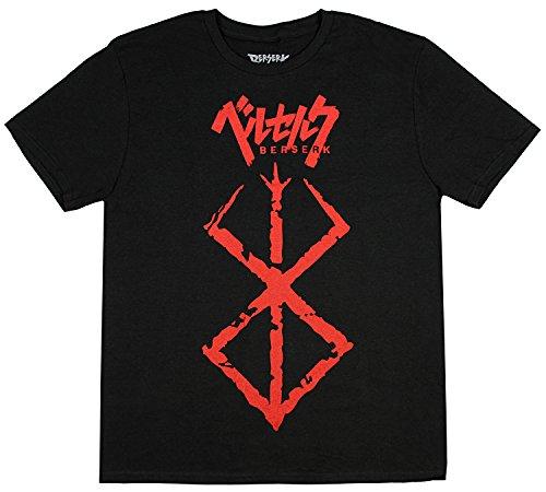 Berserk Brand of Sacrifice Graphic T-Shirt, Red Brushed Storyline, Manga Action Anime Shirt, Black-Large