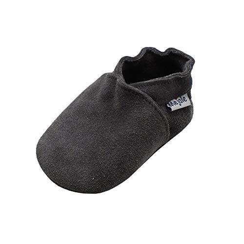 Mejale Suède schlüpfen Chaussons en Cuir Doux Chaussures bébé Mokassin chausseres Premiers Pas (0-6 mois/12 cm, Gris,S)