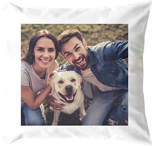 EZYshirt® Foto-Kissen Selbst gestalten (40 x 40 cm) - weiß & Schwarz - mit Foto individuell Bedruckt | Inkl. Kissenfüllung 100% Polyester | Personalisierte Geschenk-Idee | Kopfkissen mit eigenem Foto