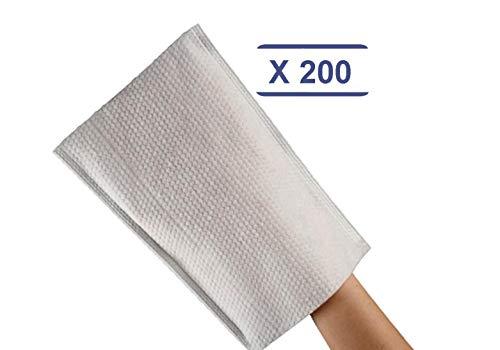 déliktess® - 200 Gants de Toilette gaufrés jetables - Qualité Luxe - Très doux