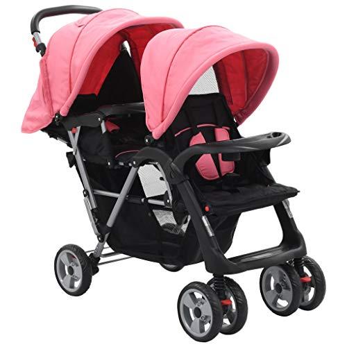 vidaXL Carrito para Dos Bebés Tandem Rosa/Negro de Acero Cochecito de Mellizos Ajustable Transporte Ligero Versátil Compacto Práctico Cómodo Plegable
