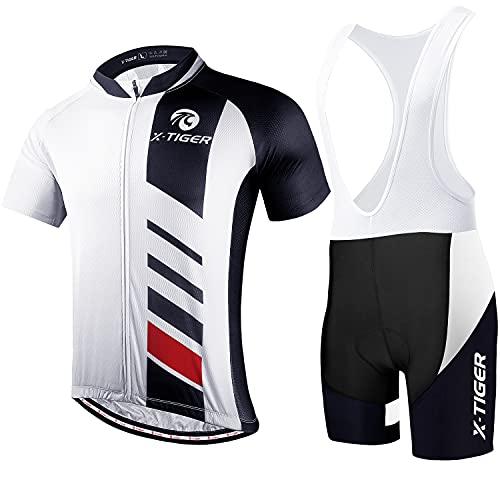 X-TIGER da Ciclismo Uomo 5D Gel Salopette Pantaloncini Corti Imbottiti Set di Abbigliamento Ciclista