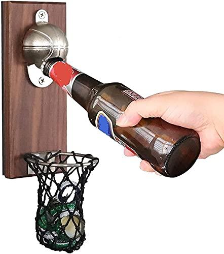 Abrebotellas magnético para frigorífico, diseño de baloncesto, para montar en la pared, abridor de botellas de madera, para decoración del hogar, bar o cerveza