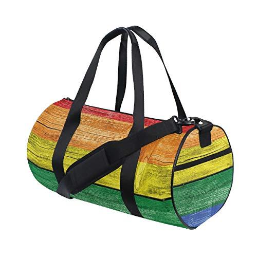HARXISE Sporttasche Reisetasche,Altes verdorbenes hölzernes Planken Regenbogenfarben Flaggenmuster Stolz Thema,Schultergurt Handgepäck für Übernachtung Reisen
