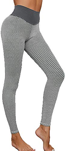 2021 Women Sport Yoga Pants Sexy Tight Leggings,Anti Cellulite Workout Leggings for Women Ruched Butt Lifting Yoga Pants Tummy Control Tight Leggings (S,Gray)