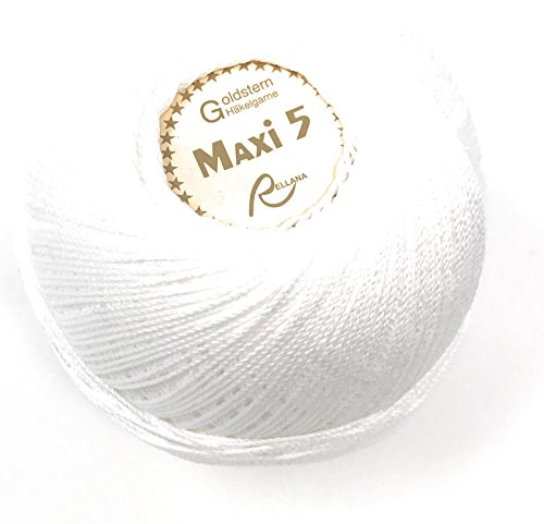 Rellana Häkelgarn Stärke 5, Farbe weiß, 100% Baumwolle, 50 g Knäuel = ca. 200 m