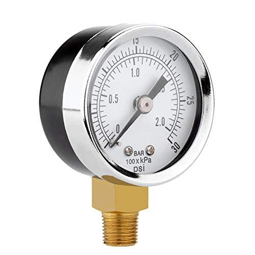 Corwar Manometer, Dual Scale Messgerät, 0 ~ 30psi oder 0 ~ 2bar Messbereich, stabiles Gasdruckmessgerät für Wasser, Öl, Luft und mehr, 40 mm Durchmesser