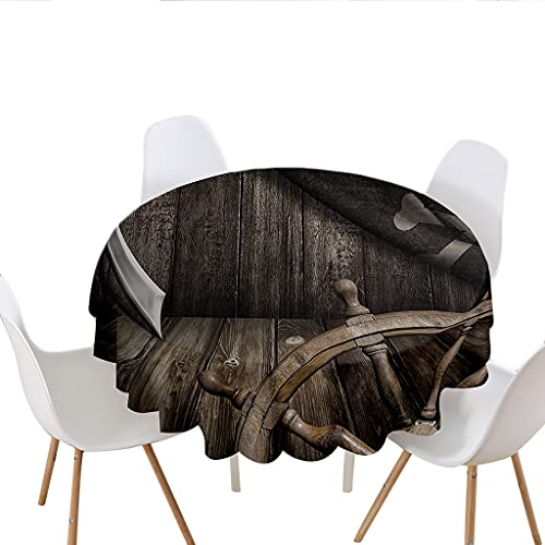 Highdi Round Tablecloth Wipe Clean, 3D Print Polyester Waterproof Dust-Proof Circular Table Cover for Dinner Kitchen Holiday Bistro Garden Outdoors (Grey planks,Diameter 180cm)