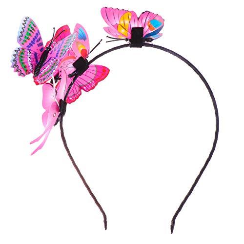 1 pc fermoir à cheveux créatif papillon bande de cheveux mode cerceau de cheveux pour femmes dames filles (rose)