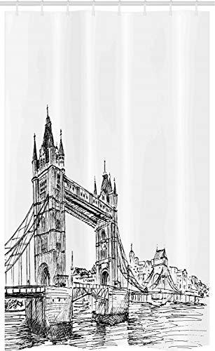 ABAKUHAUS London Schmaler Duschvorhang, Tower Bridge UK Landschaft, Badezimmer Deko Set aus Stoff mit Haken, 120 x 180 cm, Weiß Schwarz