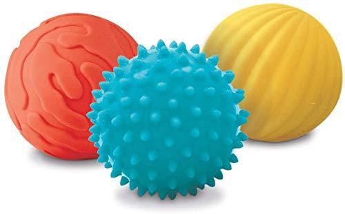 LUDI - Coffret de 3 petites balles sensorielles. Dès 6 mois. 2 balles nervurées et 1 balle à picots tendre pour les massages. Balles souples et faciles à agripper. Diamètre : 8 cm - réf. 30008