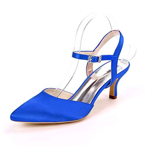 Wedding Shoes,Imitatesilk Ankle Strap Buckle Pointed Toe Slingback Kitten Heel Dress Pumps Ladies Comfortable Fashion Court Shoes,Royal Blue,3 UK