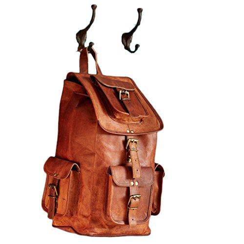 Mad Over Shopping Mochila de Hombro para Hombre Equipaje de Viaje Bolso de Senderismo de Camping de Cuero marrón Genuino Mochila Vintage