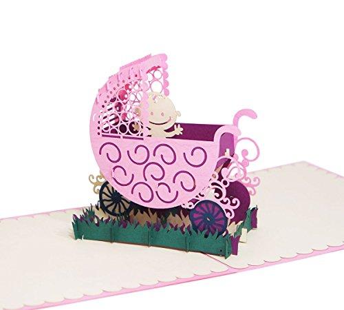 Kinderwagen (Rosa) - Klappkarte / 3D Pop-Up Karte - Glückwunschkarte zur Geburt, Grußkarte mit Baby