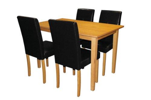 Premier Housewares 2401995 Set di Tavolo da Pranzo e Sedie in Legno Massiccio, in Ecopelle, 5 Pezzi, Nero
